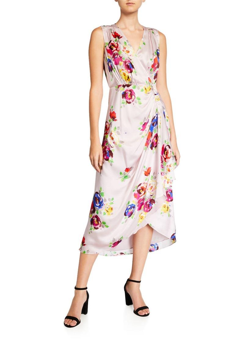 Kate Spade rare roses sleeveless silk midi wrap dress