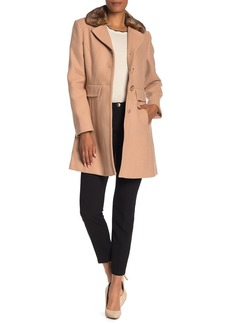 Kate Spade Removable Faux Fur Collar Wool Blend Coat