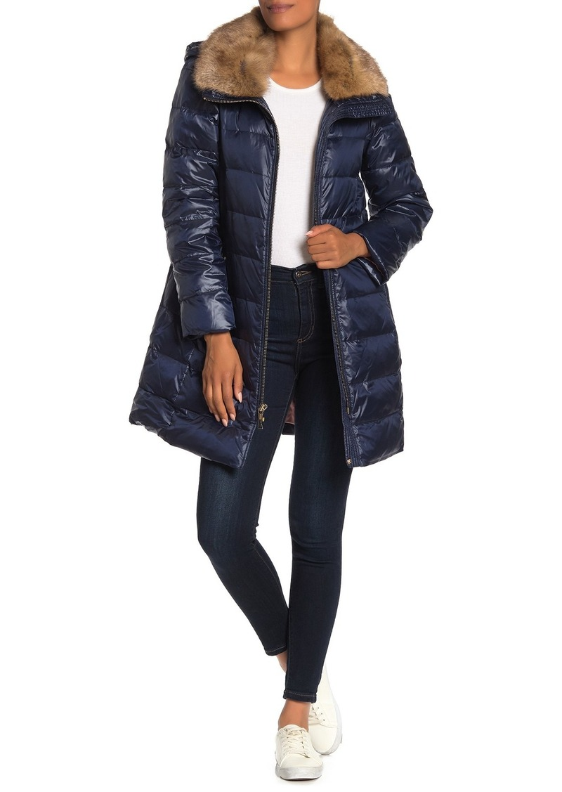 Kate Spade Removable Faux Fur Trim Hooded Down Jacket