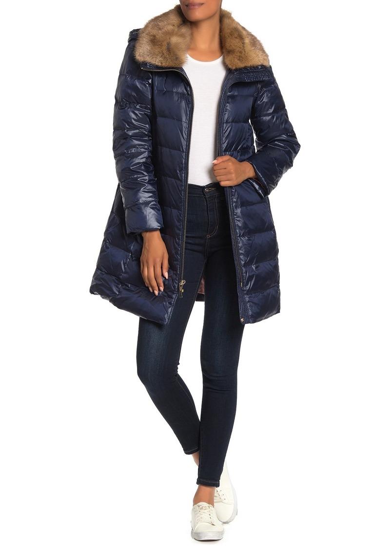 Kate Spade Removable Faux Fur Trim Hooded Down Jacket