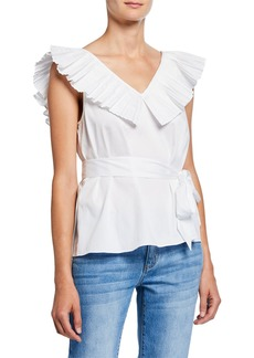 Kate Spade ruffle neck tie-waist sleeveless top