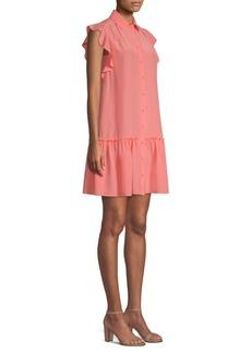 Kate Spade Ruffle Sleeve Silk Shift Dress