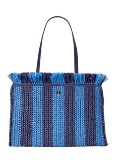 Kate Spade sam striped straw tote