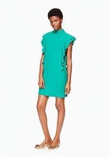 satin crepe flutter sleeve dress