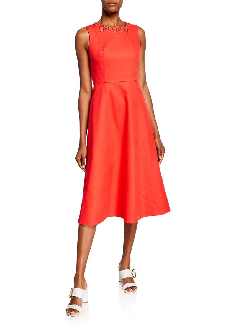 Kate Spade scallop cutout sleeveless a-line midi dress