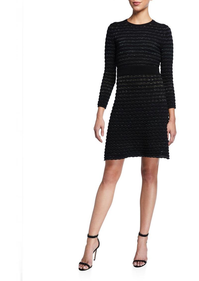 Kate Spade scallop shine long-sleeve sweater dress