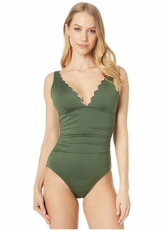 Kate Spade Scallop Wave Contrast Scalloped Plunge One-Piece