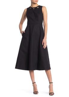 Kate Spade Scalloped Trim Sleeveless Midi Dress
