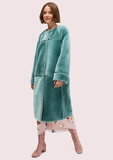 Kate Spade shearling leather trim coat