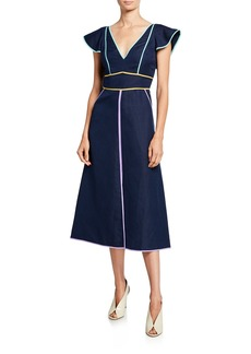 Kate Spade silk/linen v-neck short-sleeve midi dress with contrast trim