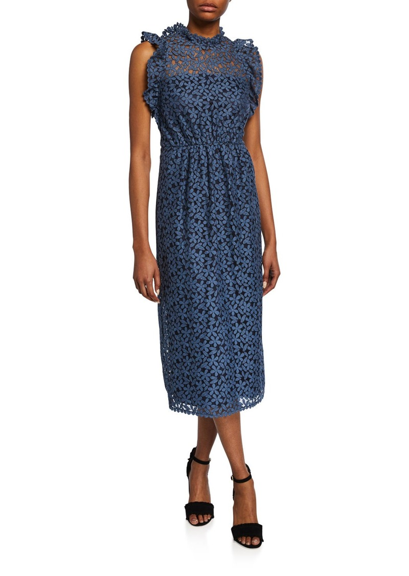 Kate Spade sleeveless floral-lace ruffle dress