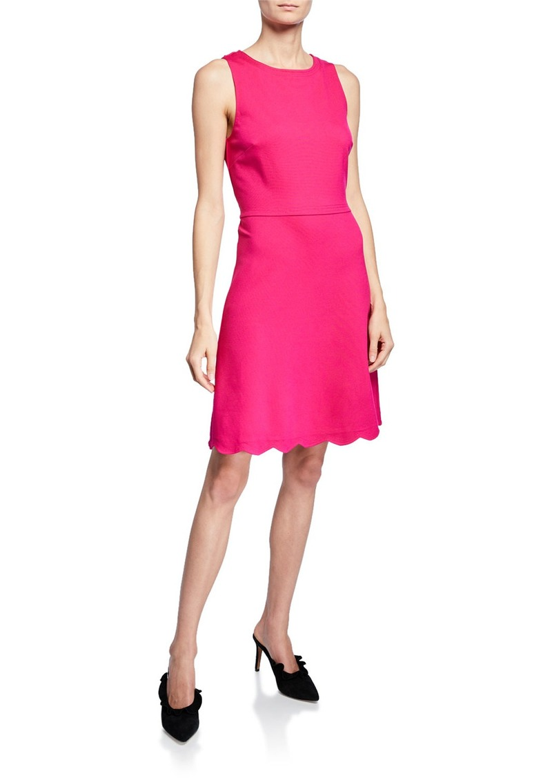 Kate Spade sleeveless scallop-back ponte dress