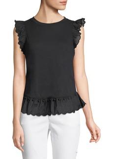 Kate Spade sleeveless top w/ pom pom trim