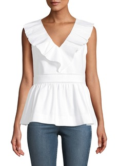 Kate Spade sleeveless v-neck ruffle top