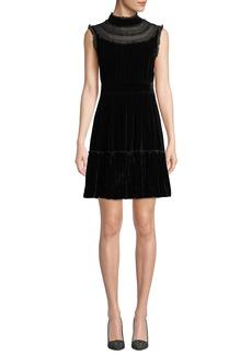 Kate Spade sleeveless velvet lace-trim dress