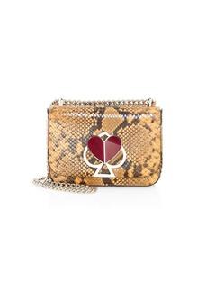 Kate Spade Small Nicola Twistlock Python-Embossed Leather Shoulder Bag