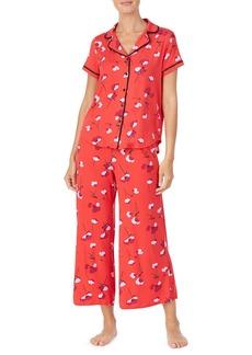 Kate Spade small poppies short-sleeve crop pajama set