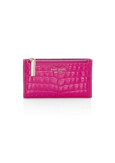 Kate Spade Small Sylvia Croc-Embossed Patent Leather Bi-Fold Wallet
