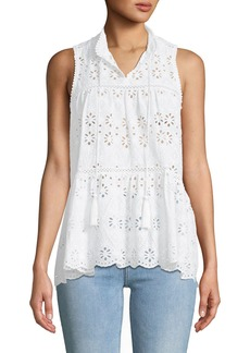 Kate Spade spice things up sleeveless eyelet top