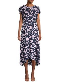 Kate Spade Splash Flutter Sleeve Floral Midi Dress