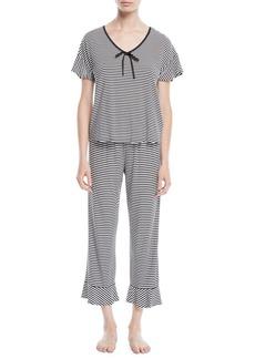 Kate Spade spring stripe cropped pajama set