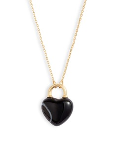 Kate Spade stone heart lock mini pendant necklace