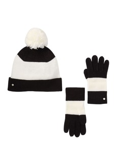 Kate Spade stripe beanie & box glove set