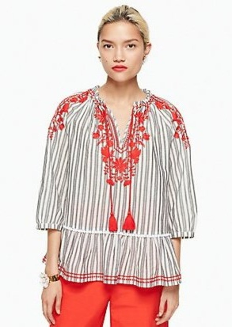 Kate Spade stripe embroidered top