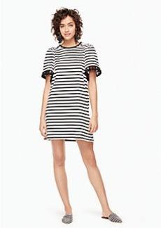 stripe flutter sleeve dress
