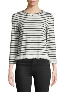 Kate Spade stripe knit fringe top