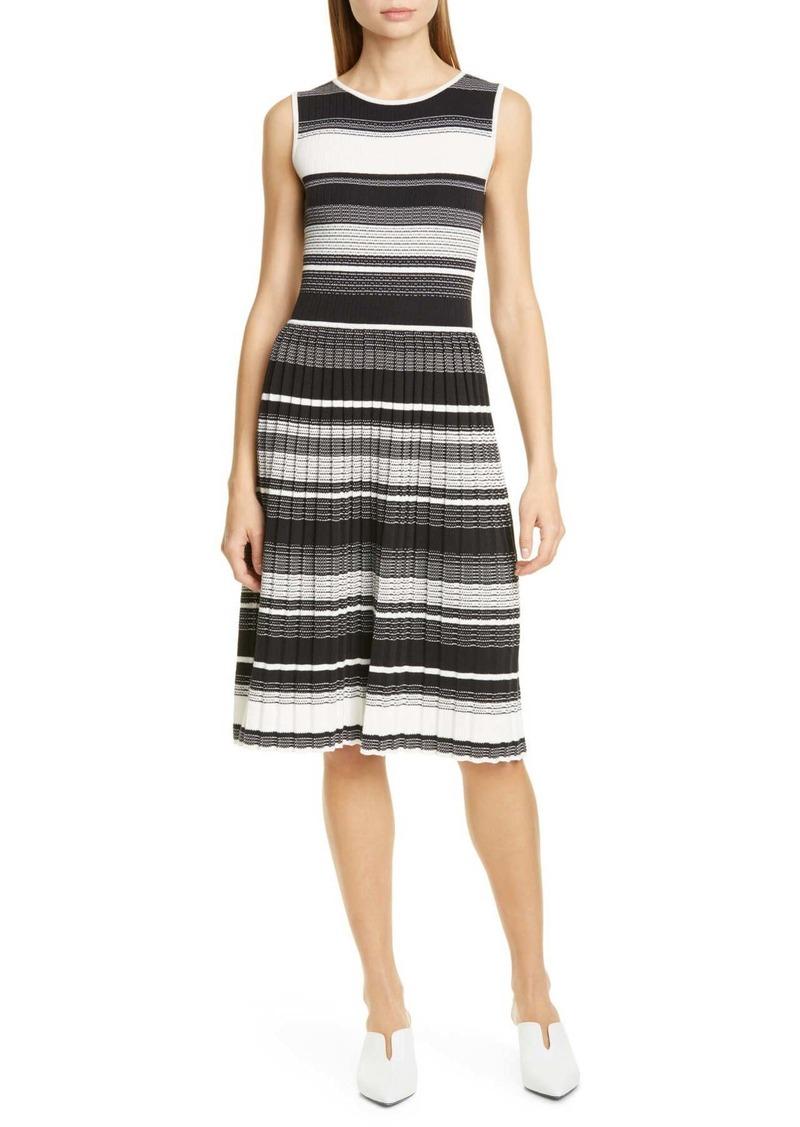 Kate Spade stripe knit pleated dress