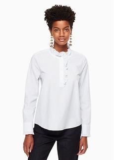 Kate Spade stripe ruffle neck poplin shirt