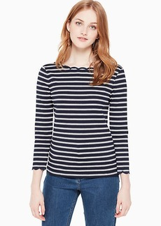 Kate Spade stripe scallop knit top