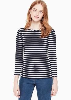 Kate Spade stripe scallop knit top
