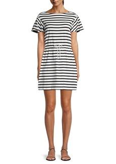 Kate Spade Striped Drawstring Cotton Mini Dress