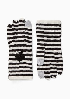 Kate Spade striped spade touchscreen gloves