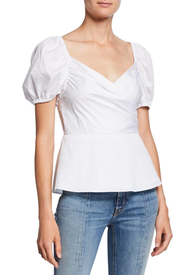 Kate Spade sweetheart puff-sleeve peplum blouse