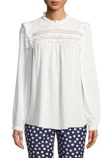 Kate Spade swiss-dot long-sleeve blouse with ruffled trim