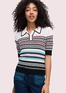 Kate Spade texture mix polo sweater