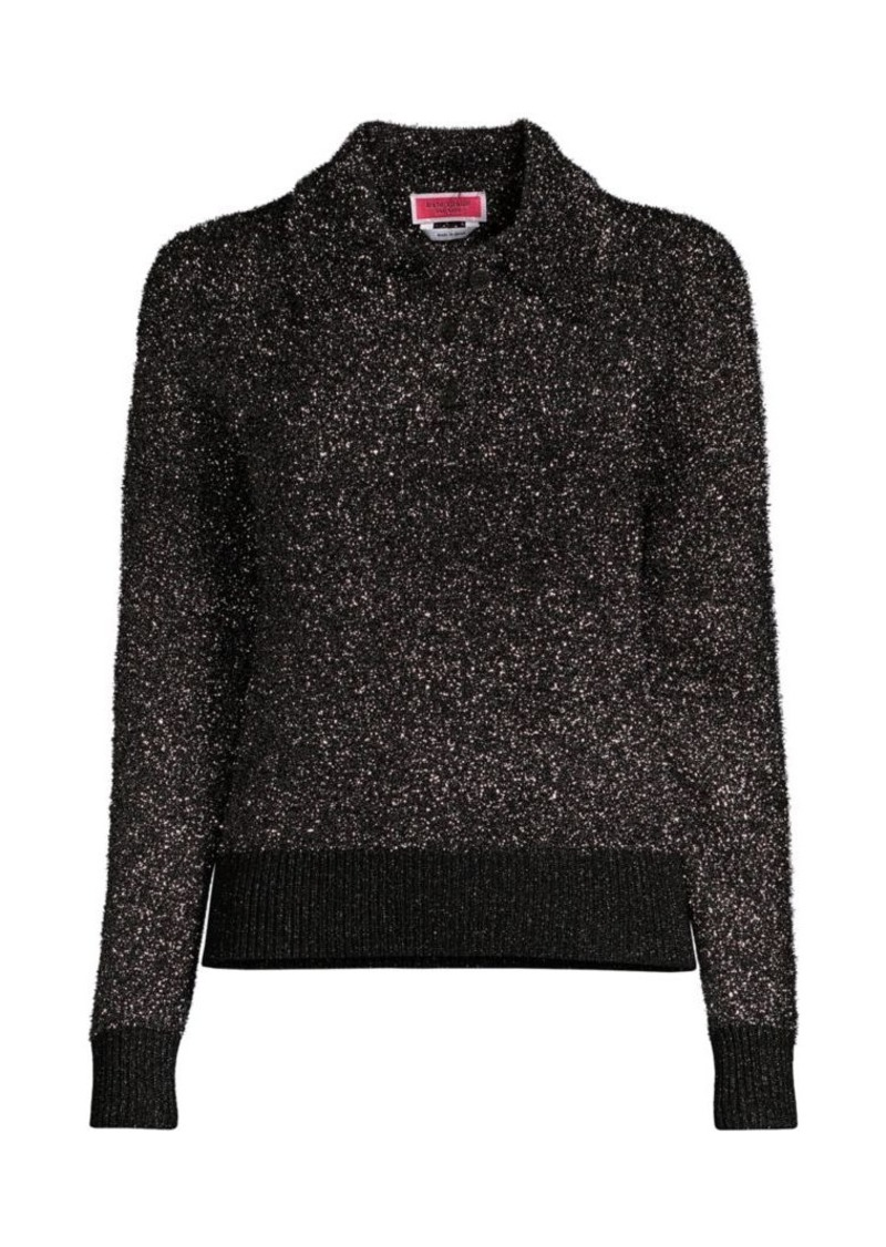 Kate Spade Textured Sparkle Polo Sweater