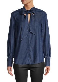 Kate Spade Tie-Neck Denim Shirt