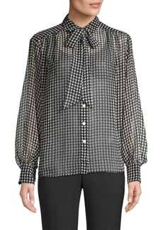 Kate Spade Tie-Neck Houndstooth Chiffon Button-Down Blouse