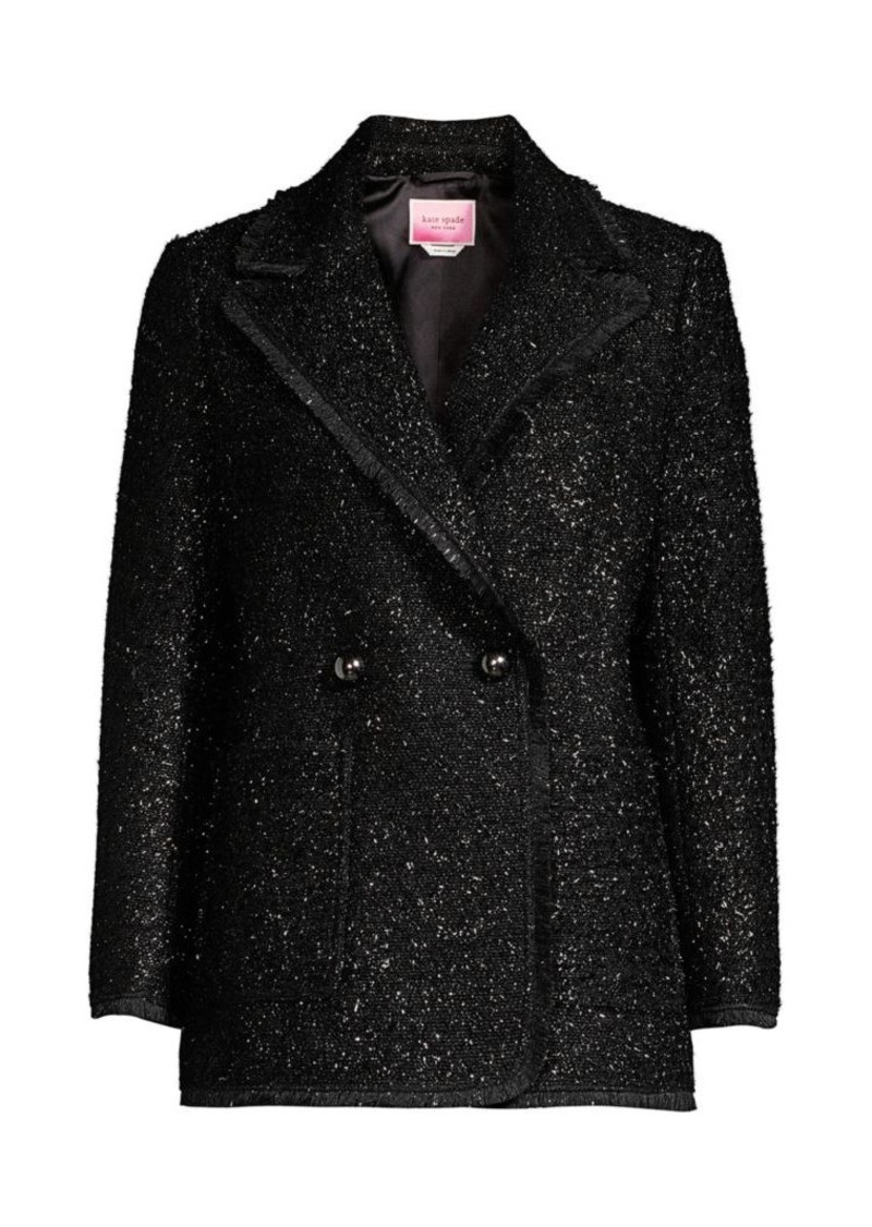 Kate Spade Tinsel Tweed Double Breasted Blazer