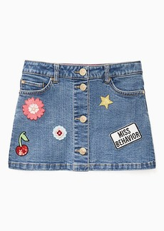 toddlers' patched denim skirt