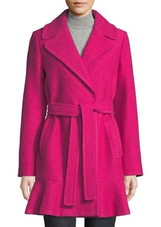 Kate Spade transitional boiled flounce-hem wool coat