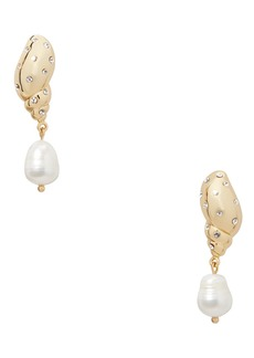 Kate Spade under the sea studded tulip shell & pearl drop earrings