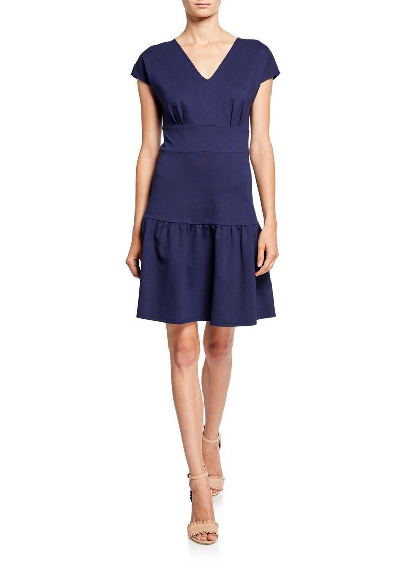 Kate Spade v-neck cap-sleeve ponte flounce dress