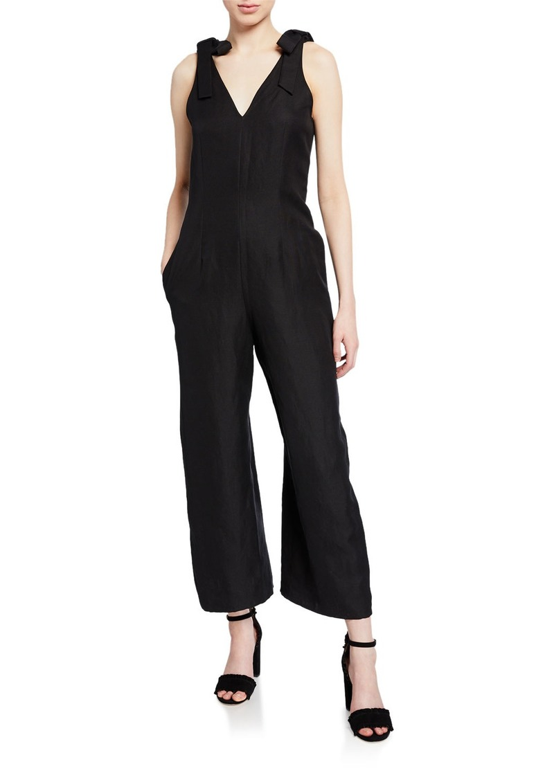 Kate Spade v-neck sleeveless silk/linen ankle jumpsuit