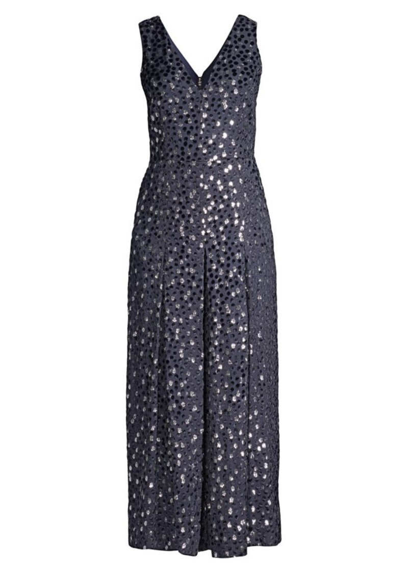 Kate Spade Velvet Dotted Cropped Silk-Blend Jumpsuit