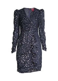 Kate Spade Velvet Dotted Princess-Sleeve Sheath Dress